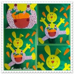 Material: - EVA amarelo, laranja, vermelho, verde e desenhado. - Papel cartão laminado verde. - Botões grande - Cola quente. - Caneta tinteira preta - Molde de coelho grande e cenouras.