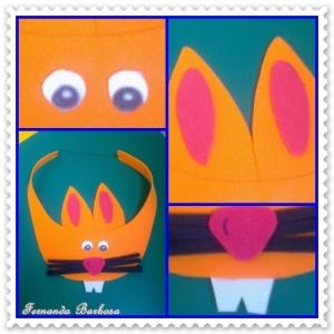 Material : - EVA laranja, branco, vermelho e preto. - Olhinhos articulados (médio) - Cola quente - Elástico fino
