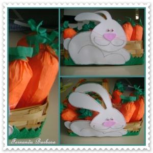 Material: - EVA branco, rosa e verde - Caneta tinteira preta - Papel crepom laranja e verde.  - Jornal  - Olhinhos articulados (médio) - Cola quente